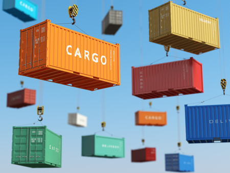 Cargo shipping containers in storage area with forklifts. Delivery background concept. 3d Stock fotó