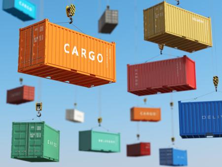 Cargo zeecontainers in opslagruimte met heftrucks. Levering achtergrond concept. 3d