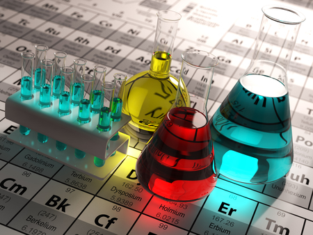 experiments: Laboratory test tubes and flasks with colored liquids on the periodic table of elements. Science chemistry concept.  3d