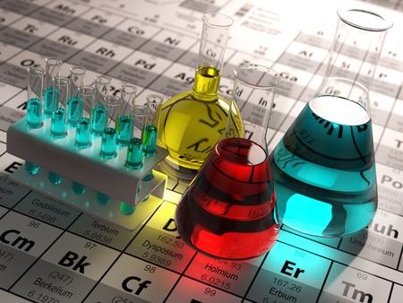 tubos de ensayo de laboratorio y frascos con líquidos de colores en la tabla periódica de los elementos. concepto de química de la ciencia. 3d