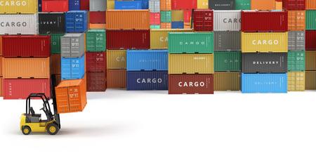 Cargo zeecontainers in opslagruimte met vorkheftrucks met ruimte voor tekst. Levering of magazijn concept. 3d Stockfoto