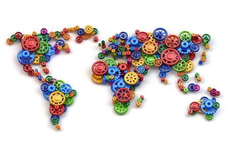 歯車から世界の地図。グローバル経済の接続と国際ビジネス コンセプト。3 d
