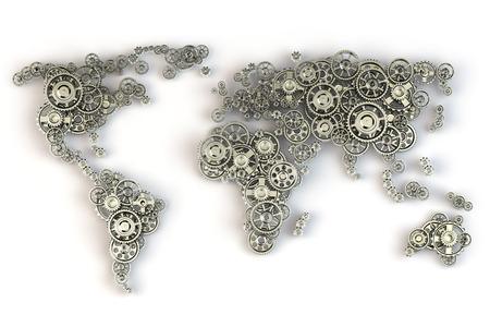Mapa del mundo de los engranajes. conexiones economía global y concepto de negocio internacional. 3d