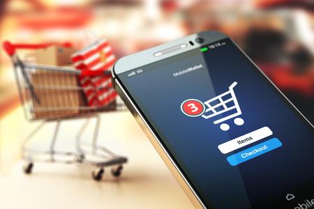 Online winkelconcept nackground. Mobiele telefoon of smartphone met kar en dozen en tas. 3d Stockfoto