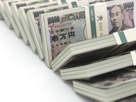 japanese currency: Row of japanese yen pack money  on white background.