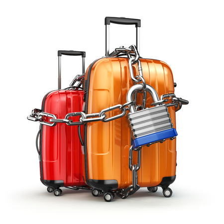 lock concept: Luggage with chain and lock. Security and safety of baggage or end of travelling concept. 3d