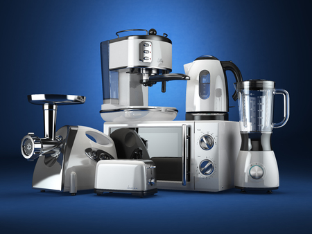 appliance: Kitchen appliances. Blender, toaster, coffee machine, meat ginder, microwave oven and kettle. 3d Stock Photo