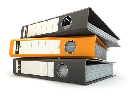 Bestandsmappen of ringbanden vol met Office-documenten op wit wordt geïsoleerd. 3d Stockfoto