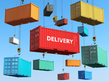 international shipping: Delivery background concept. Cargo shipping containers in storage area with forklifts.  3d