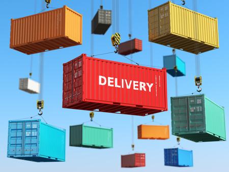 Entrega del concepto del fondo. contenedores de transporte de carga en el área de almacenamiento con carretillas elevadoras. 3d