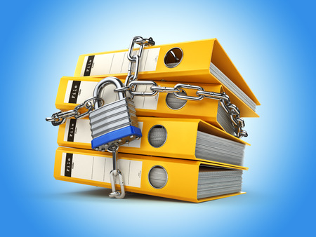 data theft: File folder and chain with lock. Data and privacy security. Information protection. 3d