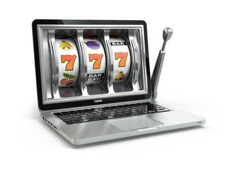 Casino online concept, gambling. Laptop slot machine. 3d