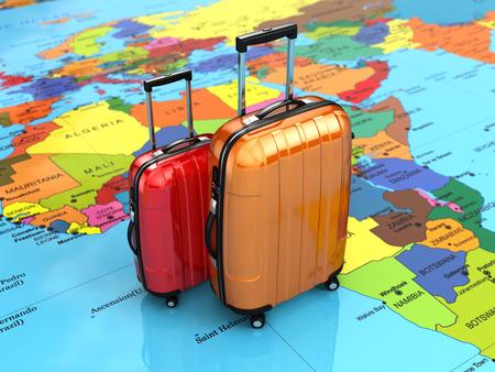 Reizen of toerisme concept. Bagage op de wereldkaart. 3d