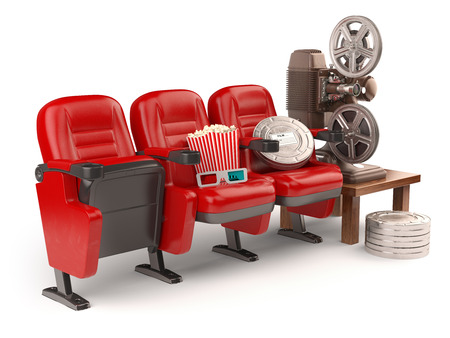 home video: Cinema, movie or home video concept. Seats with reels, popcorm and  projector isolated on white. 3d Stock Photo
