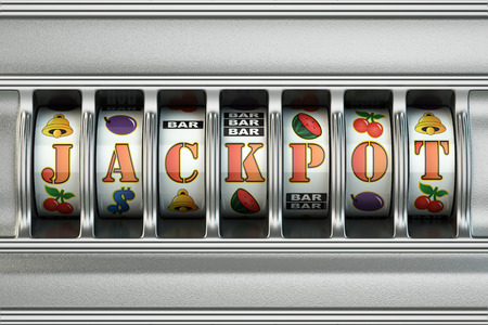 Slot machine with jackpot. Casino concept. 3d Reklamní fotografie