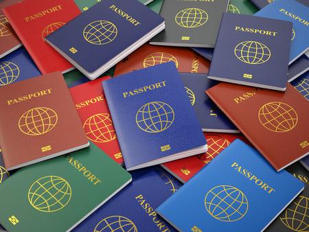 さまざまな種類のパスポート。観光や習慣の概念の背景を旅行します。3 d 写真素材
