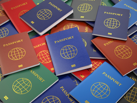 Passports, different types. Travel turism or customs concept background. 3d Stock Photo - 55369625