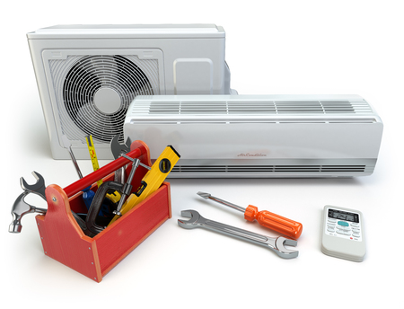conditioner: Air conditioner with toolbox and tools. Repair of air-conditioner concept. 3d