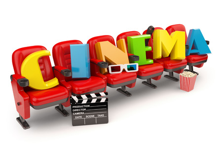 showtime: Cinema, movie or video concept. Row of seats with popcorm, glasses and clapper board  isolated on white. 3d