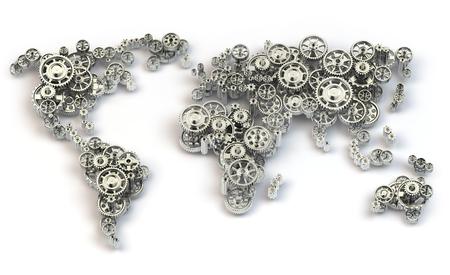 negocios internacionales: conexiones economía global y concepto de negocio internacional. Mapa del mundo de los engranajes. 3d