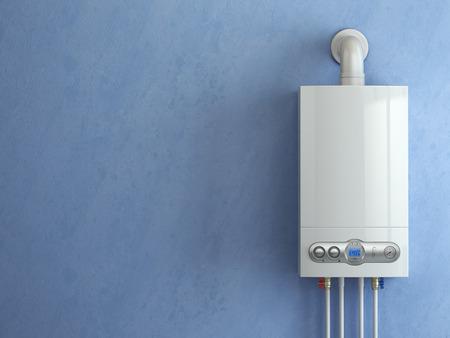 Gas boiler on blue background. Gas boiler home heating. 3d