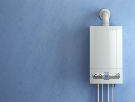 household: Gas boiler on blue background. Gas boiler home heating. 3d