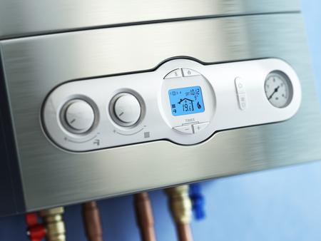 tablero de control: caldera de gas panel de control. caldera de gas de calefacción del hogar. 3d
