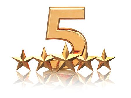 Goldene fünf Sterne. Service-Bewertung von Hotels. 3d