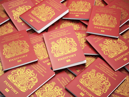 UK British passports for United Kingdom of Great Britain and Northern Ireland background, UK passport. 3d Фото со стока - 55845688