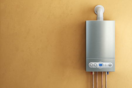 Gas-fired boiler on yellow background. Home heating. 3d Standard-Bild