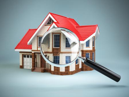 家とルーペ虫眼鏡。不動産検索の概念。家宅捜索と家探し。3 d 写真素材