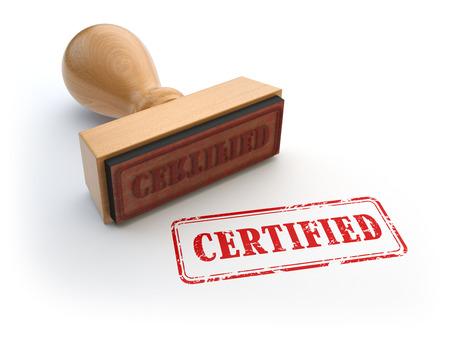 Stempel met tekst gecertificeerd geïsoleerd op wit. Certificering of garantiebewijs concept. 3d