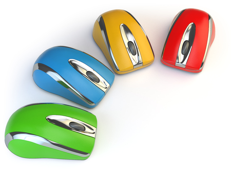 periphery: Computer mouses with different colors isolated on white. 3d