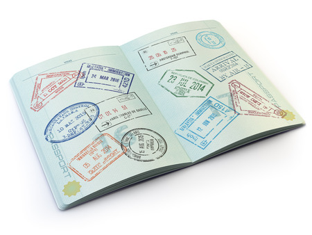 Opened passport with visa stamps on the  pages isolated on white. 3d Archivio Fotografico