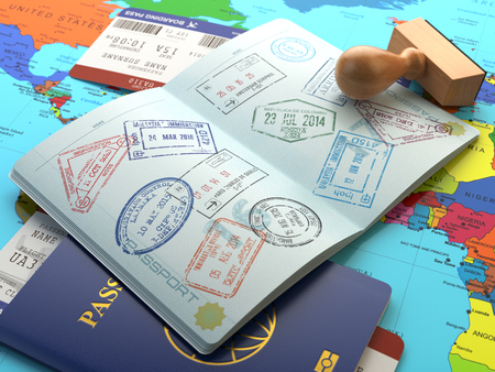 Travel or turism concept. Opened passport with visa stamps with airline boarding pass tickets and stamper on the world map. 3d