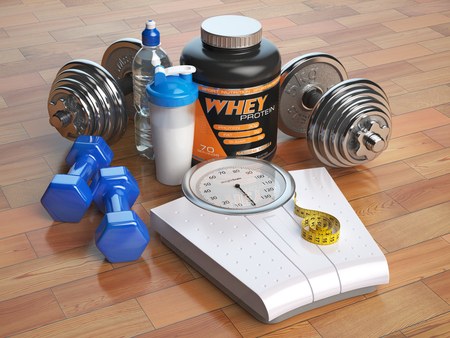 Fitness, bodybuilding or weight loss concept. Weight scales, dumbbells whey protein powder with shaker. Healthy lifestyle. 3d Stock Photo