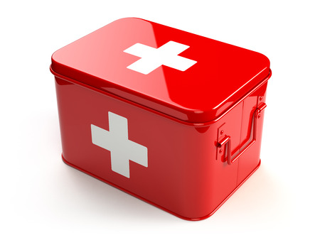 first aid box: First aid kit isolated on white. 3d Stock Photo
