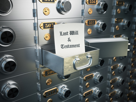 deposit: Last will and testament in the safe deposit box. Heritage concept. 3d