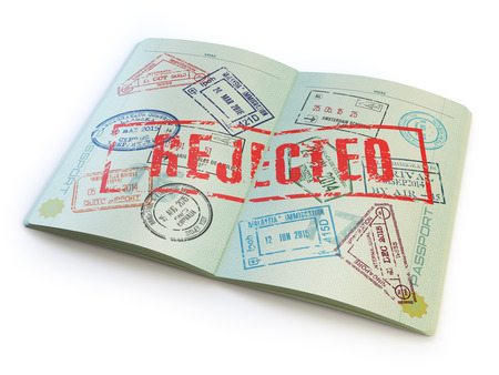 rejected: Passport with rejected visa stamp isolated on white. 3d Stock Photo
