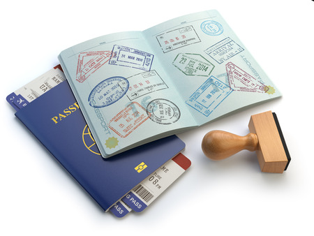 custom: Opened passport with visa stamps and airline boading pass tickets isolated on white. Travel or turism concept. 3d