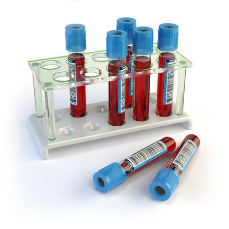 provette di sangue. I campioni di sangue in un rack isolato su bianco. illustrazione 3D