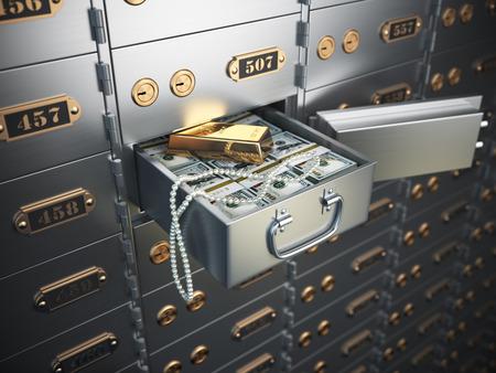 Open safe deposit box with money, jewels and golden ingot. 3d illustration