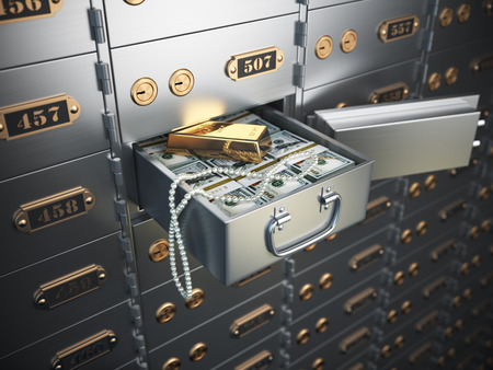 Open safe deposit box with money, jewels and golden ingot. 3d illustration
