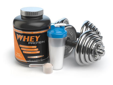 kilos: Sports bodybuilding  supplements or nutrition. Fitness or healthy lifestyle concept. Whey protein with dumbbells and shaker.  3d illustration