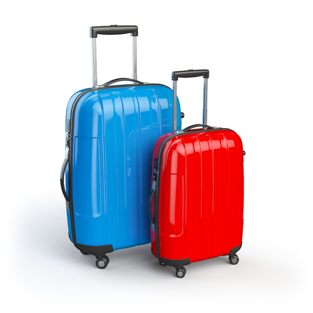 recreation rooms: Luggage. Two baggage suitcases  isolated on white. 3d illustration