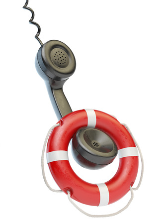 lifebouy: Help or support service concept. Telephone reciever and lifebouy isolated on white. 3d illustration Stock Photo