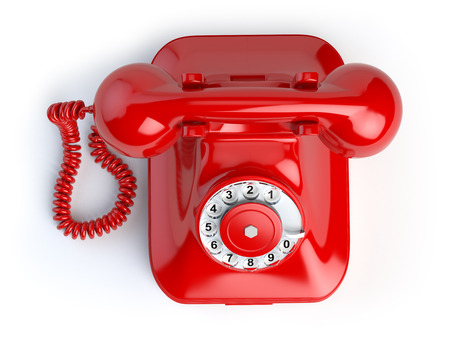 Red vintage telephone isolated on white. Top view of phone. 3d illustration Foto de archivo
