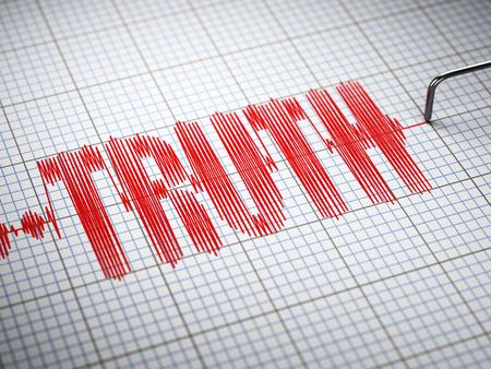 Truth-Konzept. Nahaufnahme eines Lügendetektor Lügendetektor mit Text. 3D-Darstellung Lizenzfreie Bilder