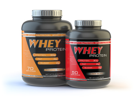 casein: Whey protein isolated on white. Sports bodybuilding  supplements or nutrition. 3d illustration