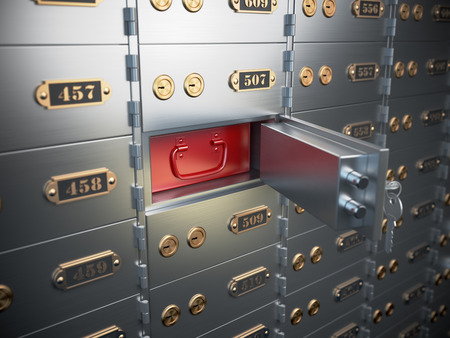 public safety: Safe deposit boxes with open one safe cell. 3d illustration